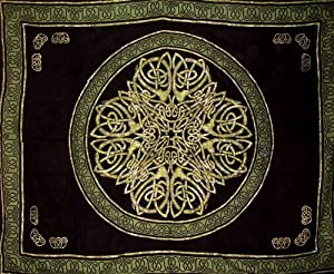 Celtic Circle Tapestry-Bedspread-Wall Hanging-Green
