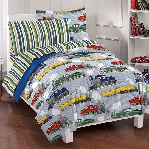 7 Pc. Boys Bedding Comforter Bed Set With Sheets Trains Bedspread Bed In A Bag front-1040944