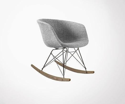 Poltrona a dondolo design Ray-imbottita grigio