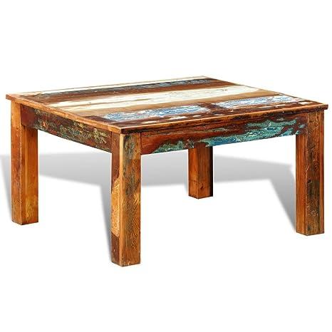 vidaXL Tavolino quadrato da caffè in legno riciclato Stile antico