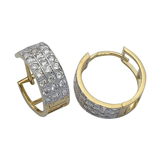 Adara 9 ct Gold Cubic Zirconia Three Row Huggie Earrings