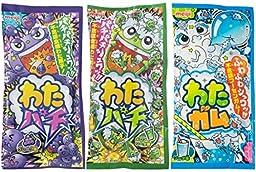 3 Pack Meiji Watapachi Watagum Soda Cotton Candy Gum Floss Ramune Melon Grape with FREE Candy Sample