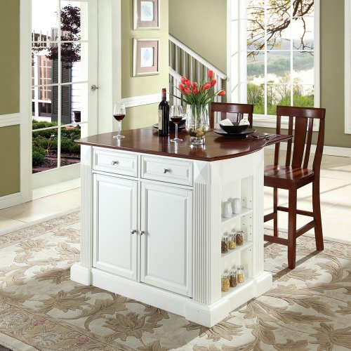 Cheap Drop Leaf Breakfast Bar Top Kitchen Island with 24″ Shield Back Stools White (KF300071WH)