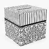 Cardboard Black And White Wedding Card Box