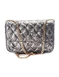 1.1? By Xpressionss Gunmetal Silver Quilted Sling Bag
