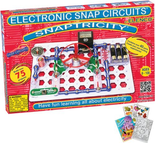 Elenco Scbe-75 Snaptricity Snap Circuits Science Kit With Coloring Book