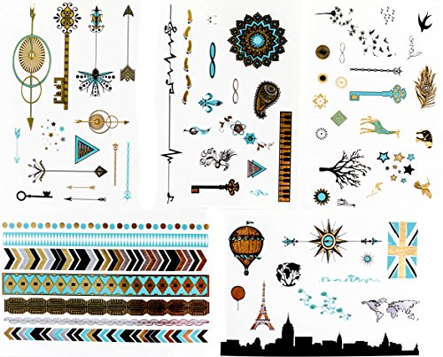 Frosted Ink Designs Super Shiny Metallic Temporary Tattoos (5 Sheets)