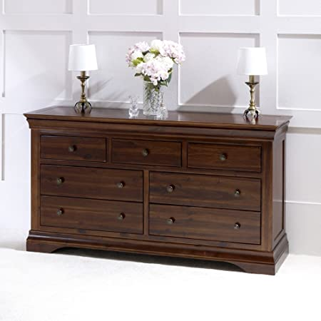 French Hardwood Mahogany Stained Wide 7 Drawer Multi Chest