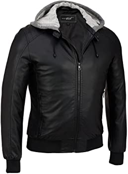 Black Rivet Mens Faux-Leather Bomber