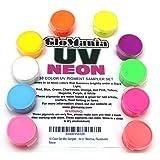 GloMania 10 Color Set Mini Sampler Neon Pigment Powder, Black Light UV Reactive, Fluorescent (Color: Multi, Tamaño: 1OZ)