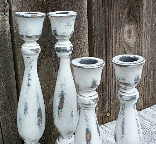 Set of 4 SHABBY CHIC True White Chippy Candle Holders - Rustic Candleholders - Taper Candlesticks	 3