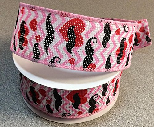 Chevron Design With Mustache And Heart Symbol 1.5 Inch X 10 Yard Roll of Ribbon