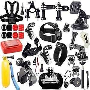 Accessoire Gopro, Iextreme Kit d'accessoires Pour GoPro Hero 4 3+ 3 2 1 SJ4000 SJ5000 Xiao Mi Yi +Harnais de poitrine + Selfie bâton + Sangle bracelet + Poignée flottante