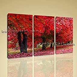 Large Contemporary Canvas Wall Art Print Picture Of Tree Fall Red Autumn HD 3 Panels Wall Art Inner Framed Ready To Hang by Bo Yi Gallery 44\