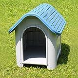 [neu.holz] Hundehütte (Sissi)(75 x 59 x 66 cm)(blau weiss) Kunststoff Hundehaus - Hundebox Hunde Haus Hütte Box Wetterfest