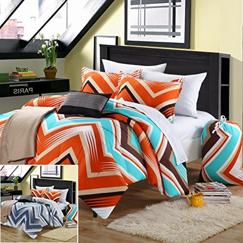 Zorro 7-Piece Comforter Set Twin Size Xtra-Long Orange Back To School, Blanket Sham Decorative Pillow And Sheet Set Included