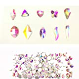 Nail Crystals AB Mixed (100+1680PCS) FlatBack AB Crystal Rhinestones Gems for 3D Nail Art, Decorating Cell Phone, Lighter, Clothes, Face, Shoes, Jewelry (100 and 1680 Mix Shape) (Color: 100 and 1680 Mix Shape)