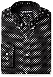 Nick Graham Men's Slim Fit Print Dress Shirt, Black, 14.5/32-33