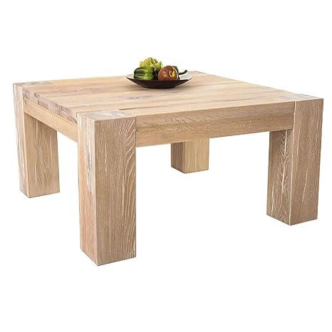 Couchtisch Wohnzimmertisch Braxton, 90x90 cm, Massivholz Holz Eiche massiv weiß gekälkt