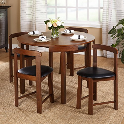 mid century tobey walnut compact dining set 5 piece in