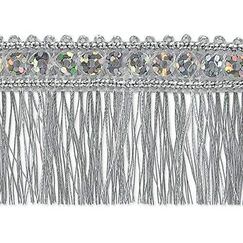 Expo International Esther Sequin Metallic Fringe Trim Embellishment, 10-Yard, Silver