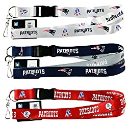 NFL New England Patriots Lanyard, ( Two Tone, Retro White, Red) Breakaway Keychain Lanyard, Set of 3