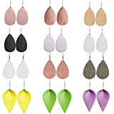 Outee 12 Pairs Leather Earrings Leaf Earrings Lightweight Faux Leather Teardrop Dangle Earrings Fashion Handmade Earrings for Women Girls (Color: 12 Pairs-4)