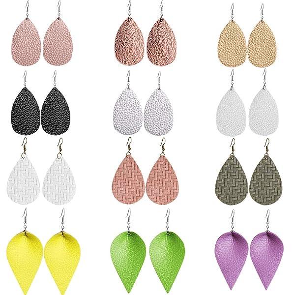 Outee 12 Pairs Leather Earrings Leaf Earrings Lightweight Faux Leather Teardrop Dangle Earrings Fashion Handmade Earrings for Women Girls (Color: 12 Pairs-4)