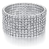 Bridal Rhinestone Bracelet Stretch Silver Tone - Ideal for Wedding, Prom, Party or Pageant