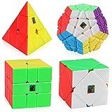 D-FantiX Speed Cube Bundle, Moyu Mofang Jiaoshi Megaminx Pyramid Skewb Square-1 Cube Stickerless Cubing Classroom Non-Cubic Gift Box (Color: Stickerless)
