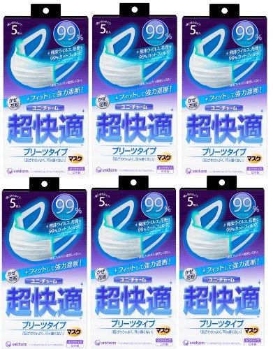超快適マスク 風邪・花粉用 プリーツタイプ ふつうサイズ 5枚入×6個セット