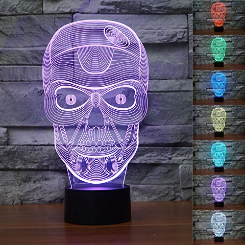 SUPERNIUDB 3D Skull Halloween Skeleton 3D Night Light 7 Color Change LED Table Lamp Xmas Toy Gift (Tabletop Skeleton compare prices)