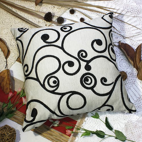 Bettino - [Black Swirl] Decorative Pillow Cushion / Floor Cushion (23.6 by 23.6 inches)