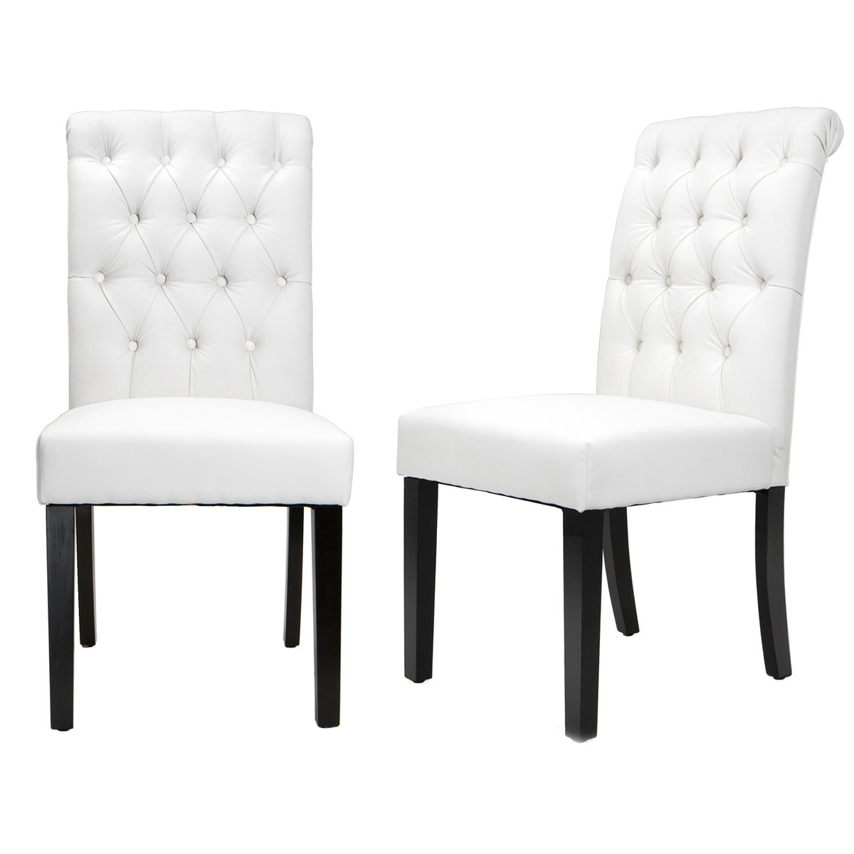 Barton Padded Leather Dining Chair, Set of 2 White