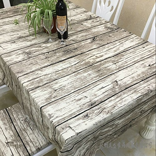 JInsen Vintage Wood Grain Tablecloth,Linen Embroidered Rectangle Washable Dinner Picnic Table Cloth,Assorted Size 140x200 cm (55x80 inch) (Wood Dinner Table compare prices)