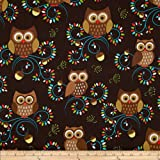 Michael Miller Norwegian Woods Happy Hooters Owls Forest Brown Fabric