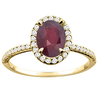 14ct Yellow Gold Enhanced Ruby Ring Oval 8x6mm Diamond Accent 7/16 inch wide, size K