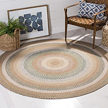 Safavieh Braided Collection BRD314A Hand Woven Tan and Multi Round Area Rug (8 Diameter)