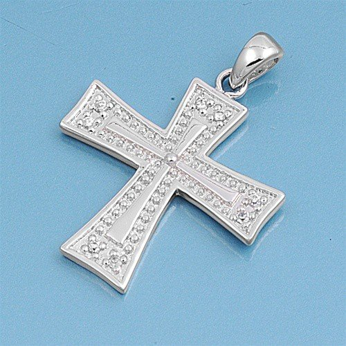 Sterling Silver Iron Cross Pendant Fancy Italian Design Charm Solid 925 24Mm With 1.3Mm Curb Chain 20 Inch
