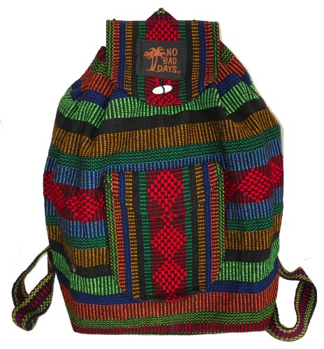 No Bad Days Baja Backpack Ethnic Woven Bag - Multicolor Red - Medium