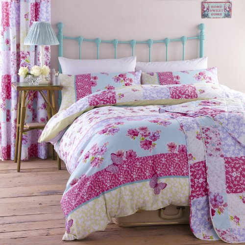 Catherine Lansfield sábana bajera con diseño Floral Patchwork estampado juego de colcha funda ropa de cama, diseño de rosa/azul - tamaño de funda de edredón