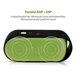 Lepow Rain Series Portable IPX6 Waterproof Bluetooth Speaker Enhanced Bass with NFC 10W Output Power Wireless Stereo Outdoor / Shower Speakers Built-in Microphone, 3.5mm Jack, 10-Hour Playtime (Green) from Lepow