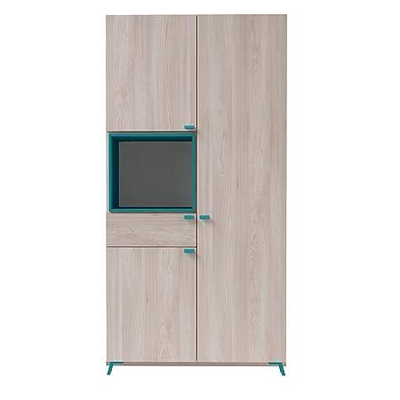 Armoire enfant 3 portes 1 tiroir Orme clair/bleu en panneaux de particules, 101.0 x 202.2 x 57.5 cm -PEGANE-