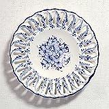 ポルトガル製 アルコバッサ 飾り皿 手描き ホワイト 花柄 アズレージョ 絵皿 30cm pfa-476w