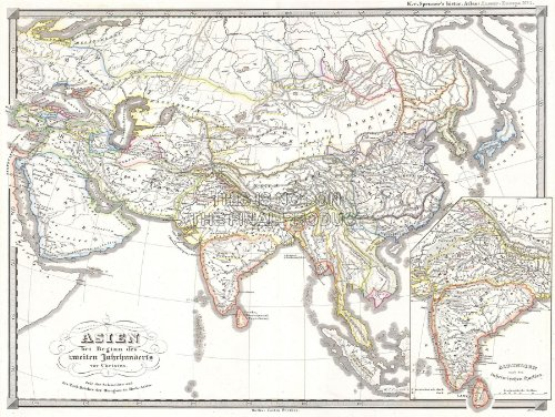 1855 SPRUNER MAP ASIA 200 B.C.E HAN CHINA, SELEUCID EMPIRE POSTER PRINT 12x16 inch 30x40cm 2924PY