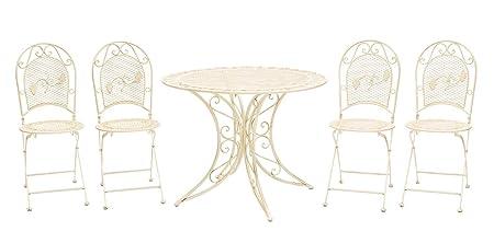 Muebles de jardín Conjunto mesa + 4 sillas de hierro muebles de jardín