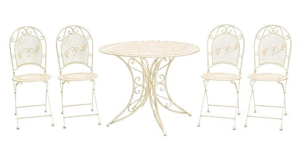 Mobili da giardino Set mobili da giardino tavolo + 4 sedie in ferro in stile