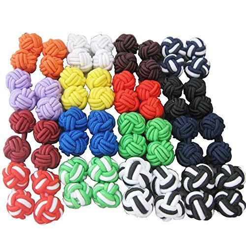 Bluemoona-1-Set-16-Pairs-Silk-Knot-Cufflinks-Cuff-Links-Mixed-Color