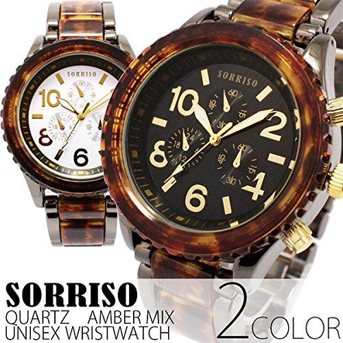 シチズンミヨタ社製 ムーブメント搭載 SORRISO ソリッソ べっ甲カラーメタルコンビ 腕時計 全2色 (ブラック)