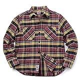(ヒューストン) HOUSTON 40120 L/S メンズ フランネル チェック ビエラ ワークシャツ hot6629061 (M, MAROON)